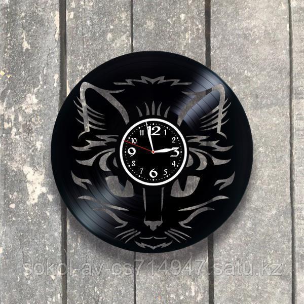 Настенные часы из пластинки Кот, подарок любителям кошек, кошатнику, кошатнице, 0527