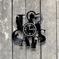Настенные часы из пластинки Кошки, подарок любителям кошек, кошатнику, кошатнице, 0530