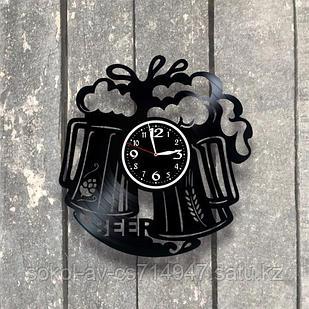 Настенные часы из пластинки Пиво,  подарок пивоману, пивовару, любителям пива, пивбар, пивная, 0532