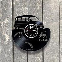 Настенные часы из пластинки автомобиль ГАЗ ГАЗель, подарок фантам, любителям, владельцам, 0533