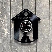 Настенные часы из пластинки, Ветеринарная клиника, подарок ветеринару, 0539