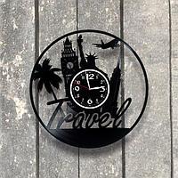 Настенные часы из пластинки, Турагентство, подарок турагенту, 0540