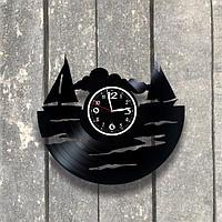 Настенные часы из пластинки, Парусный спорт, подарок яхтсмену, 0542