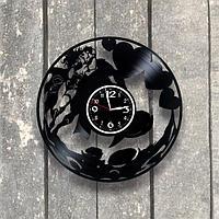 Настенные часы из пластинки Сердце, подарок любимой, любимому, влюбленным, 0544