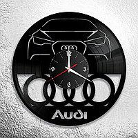 Настенные часы из пластинки Audi Ауди, подарок фанатам, любителям, владельцам, с логотипом, 0915