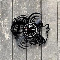 Настенные часы из пластинки, Волк, подарок фанатам, любителям волков, 0554