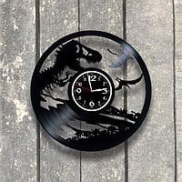 Настенные часы из пластинки, Динозавры, подарок археологу, палеонтологу, 0558