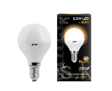 Лампа Gauss Шар 6.5W 520lm 3000K E14 LED 1/10/100