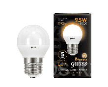 Лампа Gauss Шар 9.5W 890lm 3000K E27 LED 1/10/100