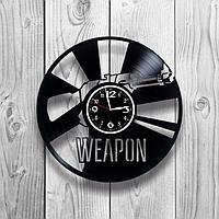 Настенные часы из пластинки интерьерные Винтовка / оружие, подарок в стиле мафии, фанатам, любителям, 1242