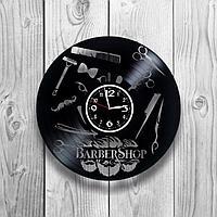 Настенные часы из пластинки, BarberShop барбершоп, подарок барберу, парикмахеру, 1244