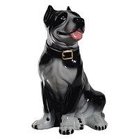 Садовая фигура собака Стафф, декор, фигурка, скульптура для сада, керамическая, ландшафтная, 44*30*22 см