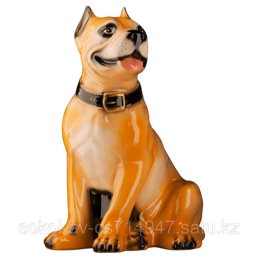 Садовая фигура собака Стафф, декор, фигурка, скульптура для сада, керамическая, ландшафтная, 44*30*22 см, беж