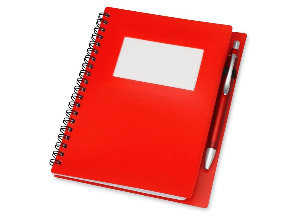 Блокнот Контакт с ручкой, красный (артикул 413501)