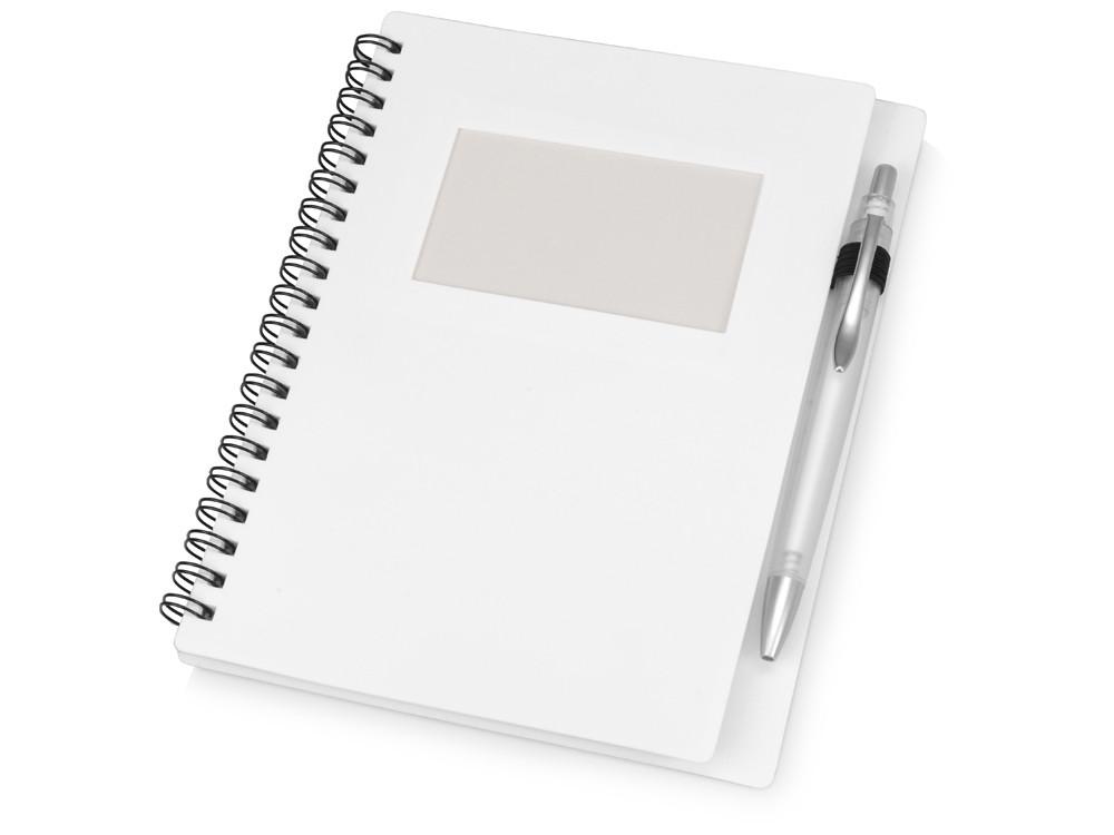 Блокнот Контакт с ручкой, белый (артикул 413506)