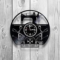 Настенные часы из пластинки, Швейная машинка, подарок портному, швее, портнихе, 1257