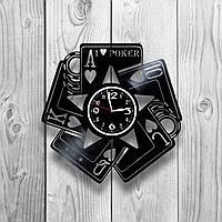 Настенные часы из пластинки, Покер Poker, подарок игрокам, картежнику, фанатам, любителям, 1261