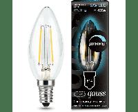 Лампа Gauss Filament Свеча 5W 450lm 4100К Е14 диммируемая LED 1/10/50
