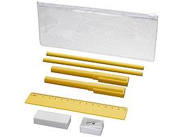 Набор Mindy: ручки шариковые, карандаши, линейка, точилка, ластик, желтый (артикул 10722104)