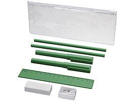 Набор Mindy: ручки шариковые, карандаши, линейка, точилка, ластик, зеленый (артикул 10722105)