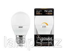 Лампа Gauss Шар 7W 560lm 3000К Е27 диммируемая LED 1/10/100