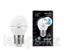 Лампа Gauss Шар 7W 550lm 4100K Е27 шаг. диммирование LED 1/10/100