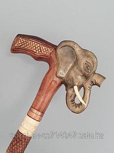 Трость ручной работы, резная, деревянная, для ходьбы, Слон-серый, подарок бабушке, дедушке, пожилым