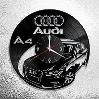 Настенные часы из пластинки Audi A4 Ауди, подарок фанатам, любителям, владельцам, с логотипом, 0916