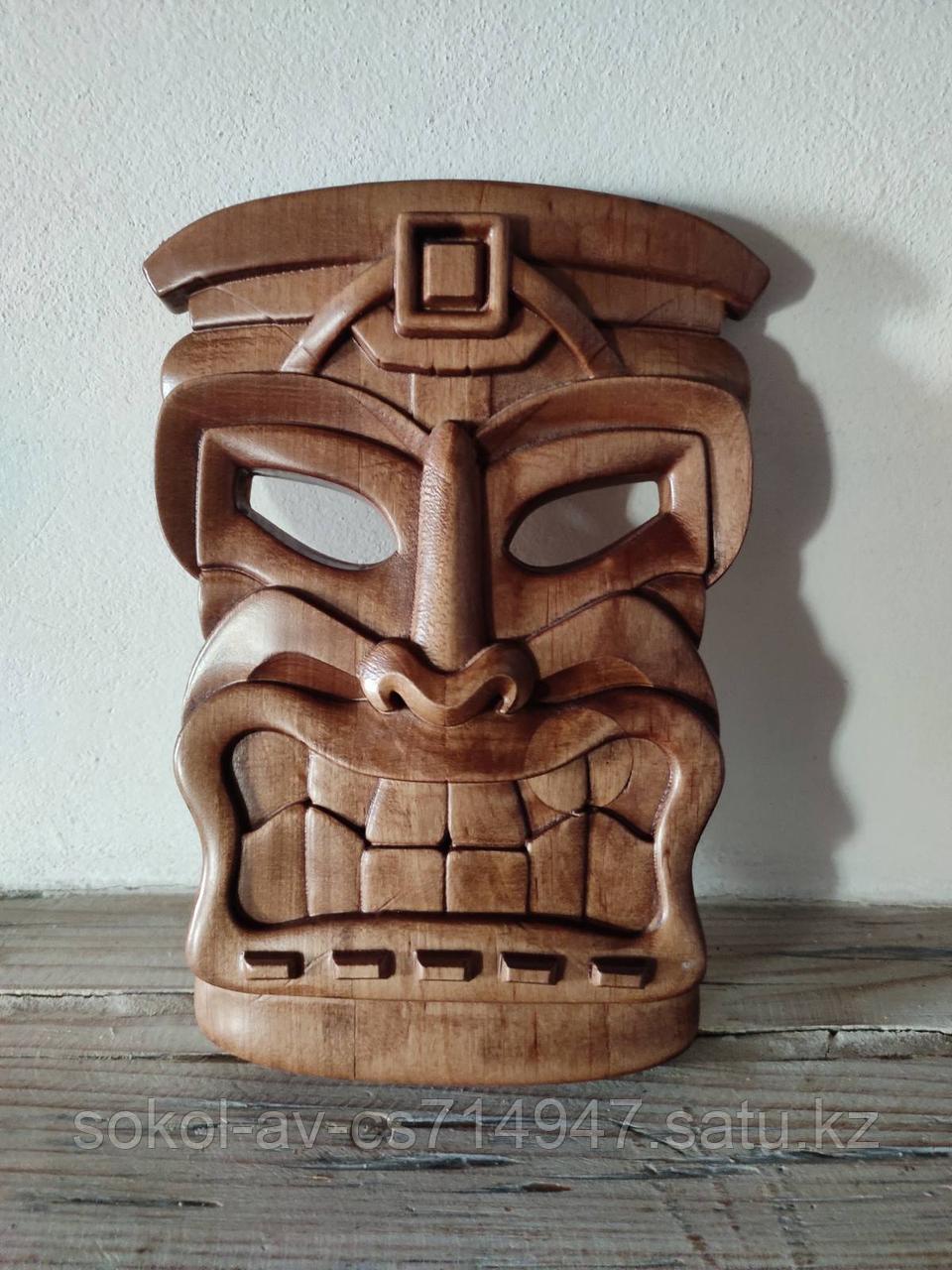 Панно маска настенная резная из дерева, декоративная, 21 х 15 х 3 см