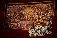 Панно резное из дерева Тайная Вечеря 29 х 55 х 3 см