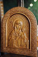 Икона резная из дерева Божией Матери Неувядаемый Цвет, 18 х 22 х 2 см