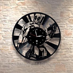 Настенные часы из пластинки deadpool Дэдпул, подарок фанатам, любителям, 0015