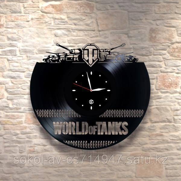 Настенные часы из пластинки World of tanks Мир танков, подарок фанатам, любителям, 0029