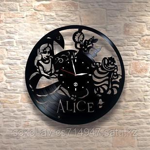 Настенные часы пластинки Алиса в стране чудес Alice in Wonderland в детскую комнату, 0030