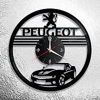 Настенные часы из пластинки Peugeot Пежо, подарок фанатам, любителям, владельцам, 0935