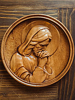 Икона резная из дерева Раздумия Спасителя, диаметр 14 см