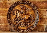 Икона резная из дерева Юрий Победоносец, диаметр 29 см