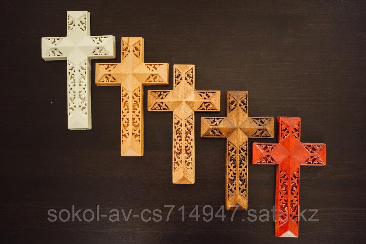 Панно крест резной настенный из дерева Итальянский, 11.8 x 19.3 см