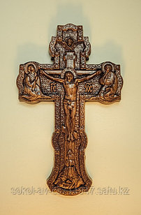 Панно крест резной настенный из дерева Православное распятие, 14.2 x 22.5 см