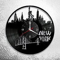 Настенные часы из пластинки интерьерные в американском стиле, в офис, кухню, прихожую, комнату, New York, 0970