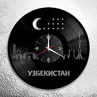 Настенные часы из пластинки интерьерные в узбекском стиле, в офис, кухню, прихожую, комнату, 0980