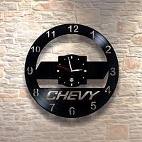 Настенные часы из пластинки, Chevrolet Шевроле, подарок фантам, любителям, владельцам 0206