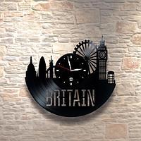 Настенные часы пластинки, Britain Британия, подарок учителю, преподавателю английского, 0204