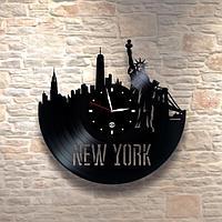 Настенные часы пластинки, New-York, подарок учителю преподавателю английского языка 0274