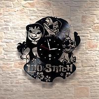 Настенные часы из пластинки, Lilo and Stitch Лило и Стич, подарок детям в детскую комнату, 0246