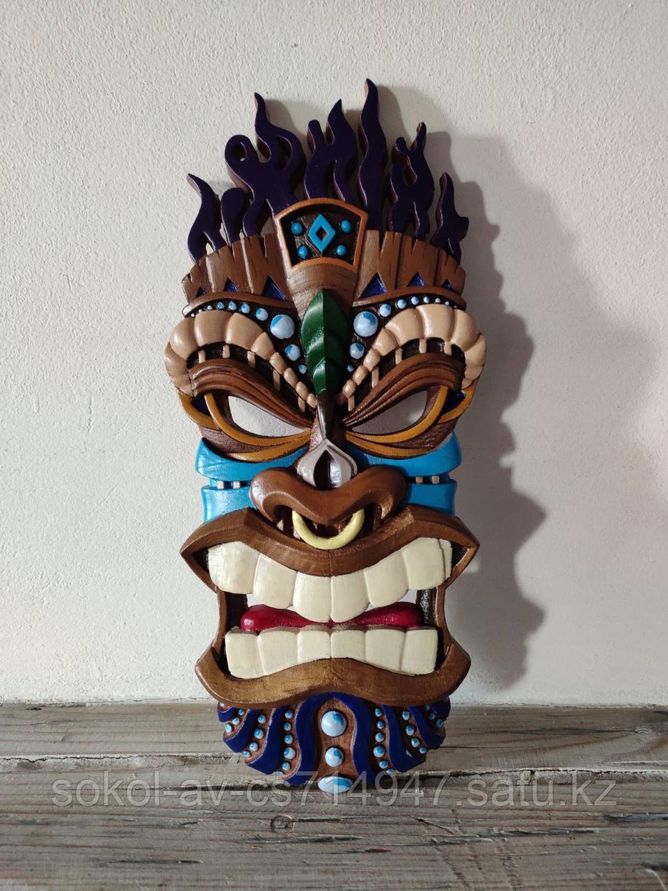 Панно маска настенная резная из дерева, декоративная, 65 х 29 х 3 см