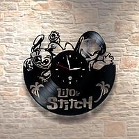 Настенные часы из пластинки, Lilo and Stitch Лило и Стич, подарок детям в детскую комнату, 0247