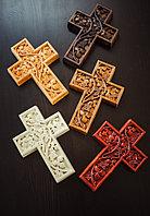 Панно крест резной настенный из дерева Лоза, 11,8 x 16,9 см