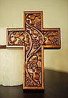 Панно крест резной настенный из дерева Лоза, 11,8 x 16,9 см, фото 2