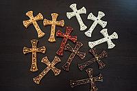 Панно крест резной настенный из дерева Инкрустация, 12.6 x 18.5 см